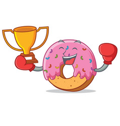 boxing winner donut mascot cartoon style vector image