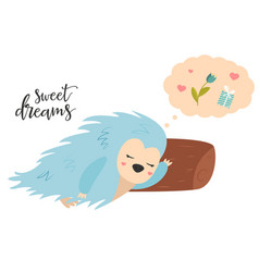 bright card with cute dreaming porcupine vector image