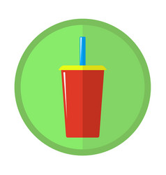bright icon with a glass of carbonated drink vector image