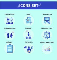 business icons set team communication employess vector image