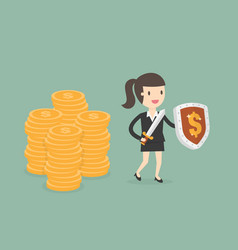 businesswoman protecting money with shield and vector image