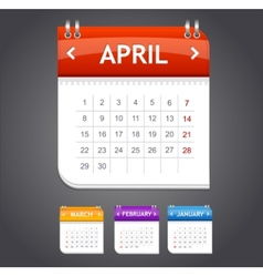 calendar april vector image