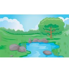 Cartoon pond scene vector
