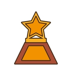 Cartoon star trophy awards gold wooden vector