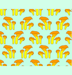 Chanterelle mushrooms pattern vector
