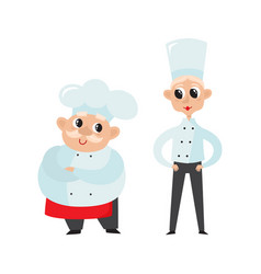 Chefs in uniform in restaurant kitchen cooking vector