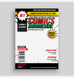 Comic magazine book cover template design vector