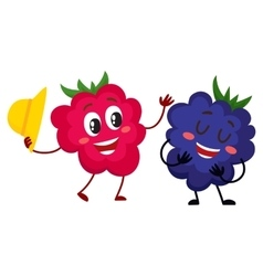 Cute funny comic style raspberry and blackberry vector