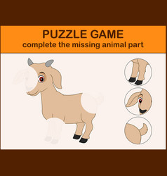 cute goat cartoon complete the puzzle vector image