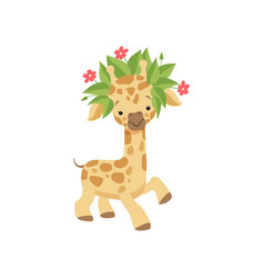 cute little giraffe in wreath of flowers funny vector image