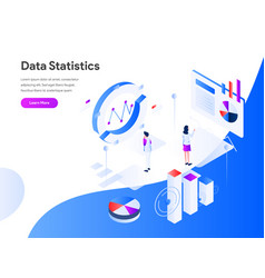 data statistics isometric concept modern flat vector image
