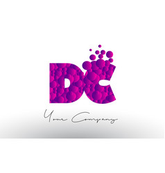 Dc d c dots letter logo with purple bubbles vector