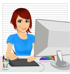 Designer working with digital graphic tablet vector