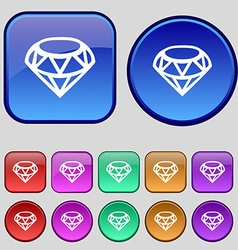 Diamond Icon sign A set of twelve vintage buttons vector