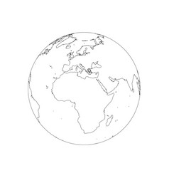 Earth globe wireframe focused on africa and vector