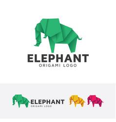 elephant origami logo design vector image