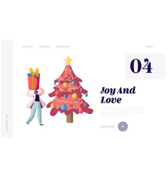 festive season website landing page happy woman vector image