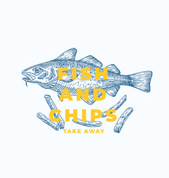 Fish and chips abstract sign symbol or vector