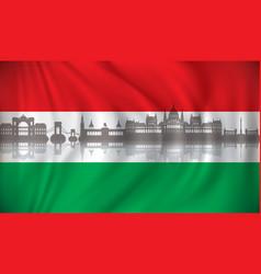 Flag hungary with budapest skyline vector