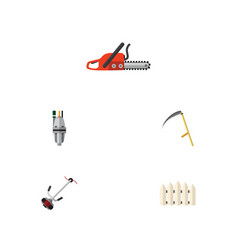 flat icon dacha set of cutter pump hacksaw and vector image