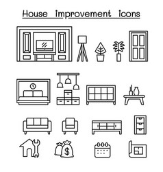 furnitures home decorate items icon set in thin vector image