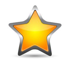 Glass yellow star icon vector