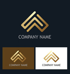 gold abstract arrow line company logo vector image