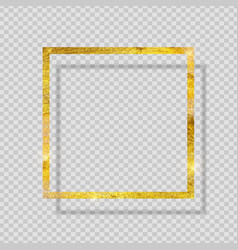 Gold paint glittering textured frame on vector
