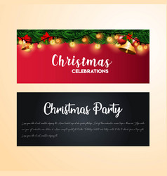 golden bells christmas banner background vector image