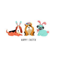 happy easter card with dogs wearing bunny vector image