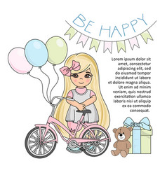 happy girl color set vector image