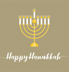 happy hanukah calligraphic wth menorah vector image