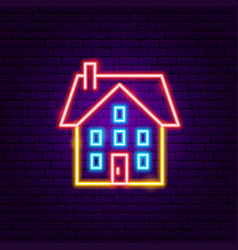 home building neon sign vector image