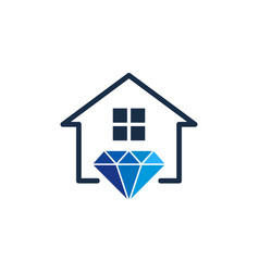 house diamond logo icon design vector image