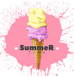 Ice cream in a horn on a bright pink background vector