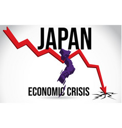 Japan map financial crisis economic collapse vector