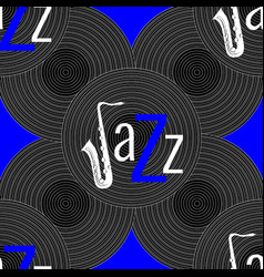 jazz concept vinyl record and word jazz letter j vector image