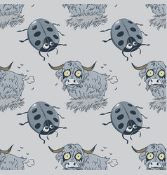 Ladybug and farting bull seamless pattern vector