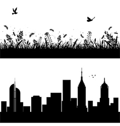 Landscape and city silhouettes vector