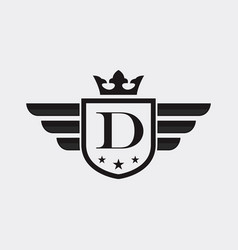 letter d shield wing vector image