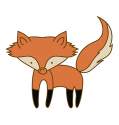 Light colored hand drawn silhouette of fox vector