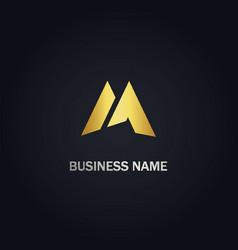 m initial shape company gold logo vector image