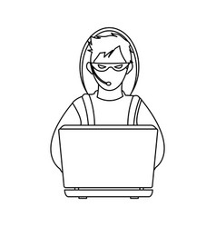 Male hacker icon image vector