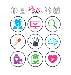Medicine medical health and diagnosis icons vector