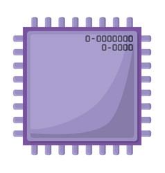microchip closeup icon silhouette in purple color vector image