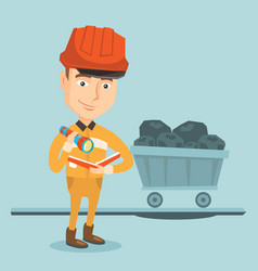 miner checking documents vector image