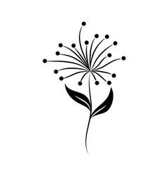minimalist tattoo flower berries leaves silhouette vector image