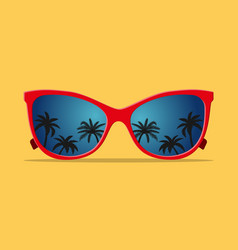 modern sunglasses with palms reflection vector image