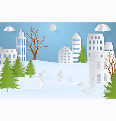 mountain village with paper art style in color vector image