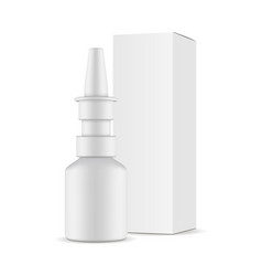 nasal spray bottle with paper box mockup vector image
